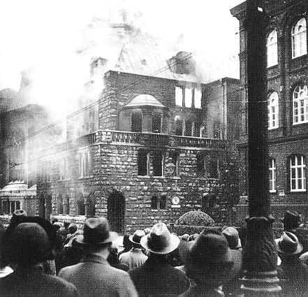 .The Great Synagogue of Essen, Germany,  set on fire during the Kristallnacht