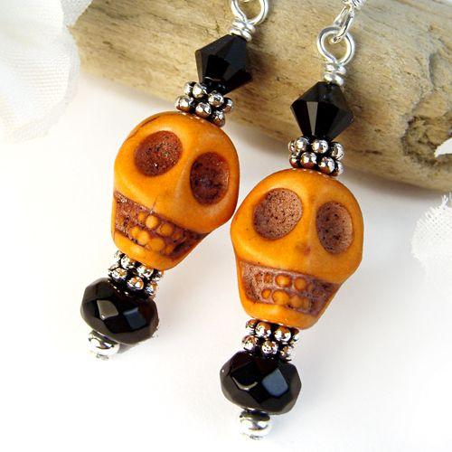 Orange Skull Earrings Halloween Black Crystals Handmade Jewelry OOAK | PrettyGonzo - Jewelry on ArtFire