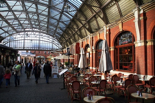 The old train station in Windsor is now a shopping and dining district in the city -  photo taken in England by absolutwade