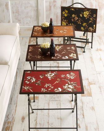 """I bet someone can come up w/ a DIY on this one. I'm gonna be on the lookout on Pinterest.  Four """"Asian"""" Folding Trays -  Horchow."""