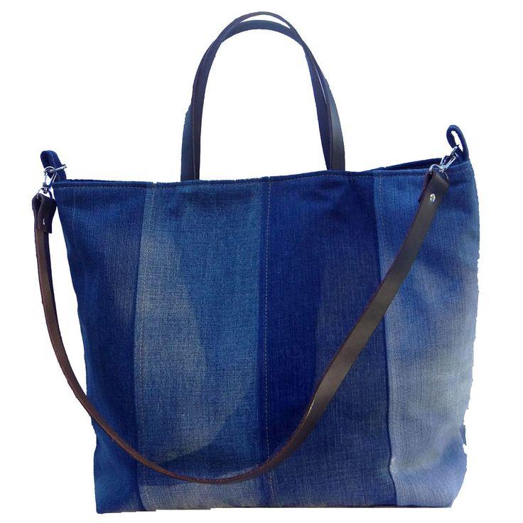 Recycled Denim Tote Beach Bag, Farmers Market Tote - 1820 Bag Co.