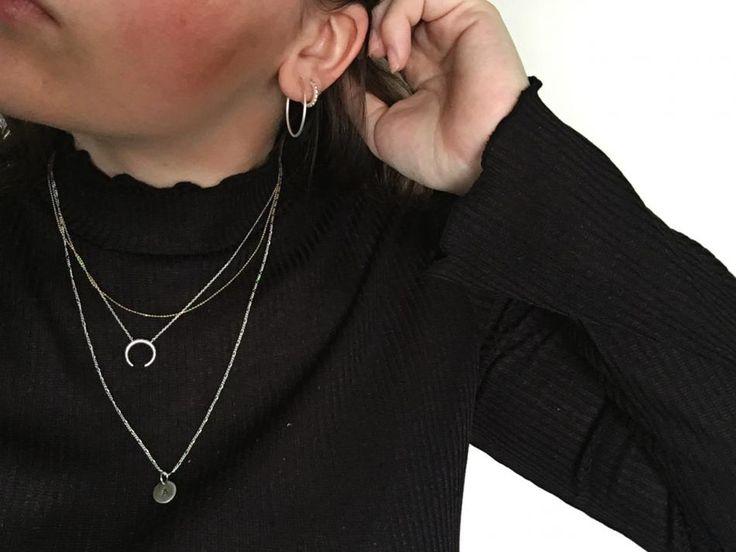 Styling by amalieschultz showing Figaro Chain Silver 57 cm , Honeycomb tusk Necklace Silver, Darling Hoop Earrings Large Silver and Infinity Hoop Zirconia Ear Studs Small Silver #jewellery #Jewelry #bangles #amulet #dogtag #medallion #choker #charms #Pendant #Earring #EarringBackPeace #EarJacket #EarSticks #Necklace #Earcuff #Bracelet #Minimal #minimalistic #ContemporaryJewellery #zirkonia #Gemstone #JewelleryStone #JewelleryDesign #CreativeJewellery #OxidizedJewellery #gold #silver…