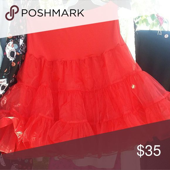 Plus Size Crinoline Petticoat Red full petticoat with elastic waist for slimming fit. Skirts Circle & Skater