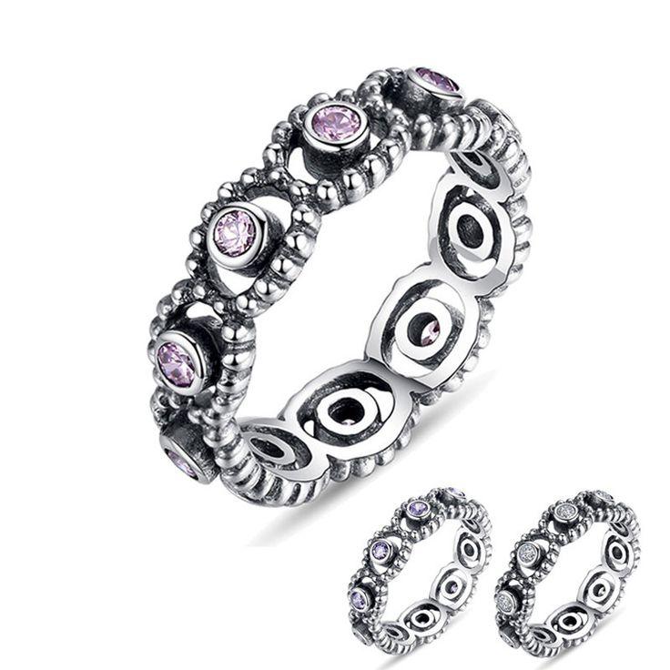 Poetico Anello di nozze con cristalli bianchi, rosa viola 100% argento sterling 925 Compatibile con stile originale WOS Ring XCH7201 di OceanBijoux su Etsy