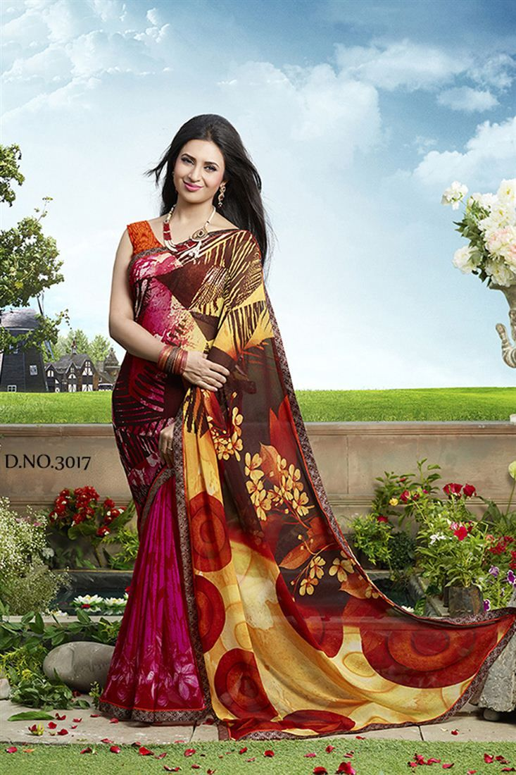 Divyanka Tripathi Pink Color Printed Saree
