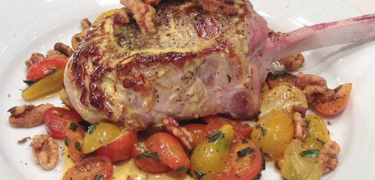 Veal Rib Chop Stuffed with Prosciutto and Fontina Cheese, Finished with Saffron Cream and Spiced Walnuts