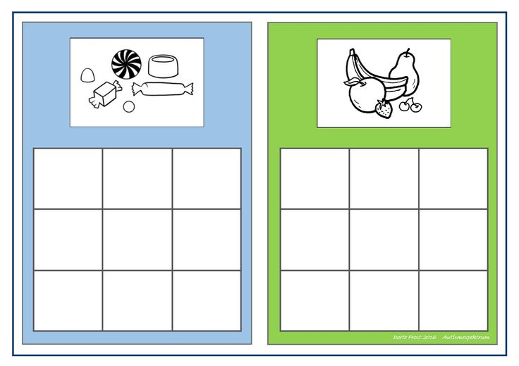Board for the candy/fruit sorting game. Find the belonging tiles on Autismespektrum on Pinterest. By Autismespektrum