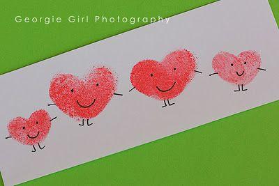 valentine thumbprints. Such a cute art project for children & Parent(s).