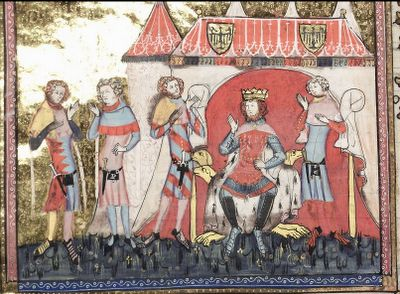 Historisk Garderob: Vidars speciella Cotehardie. Romance of Alexander. Parti-colored hosen (maybe, unless it's just the way the art reproduced).