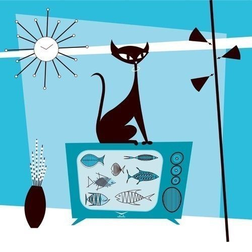 Fish TV Black Cat Print by Kerry Beary by kerrybeary on Etsy, $48.00