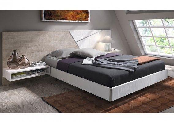 #Dormitorio formado por #cabezal de 286 cm. con detalle de aluminio, #cama de 150 x 190 cm., mesita de 60 cm. y módulo diáfano. / #Dormitori format per #capçal de 286 cm. amb detall d'alumini, llit de 150 x 190 cm., tauleta de 60 cm. i mòdul diàfan.