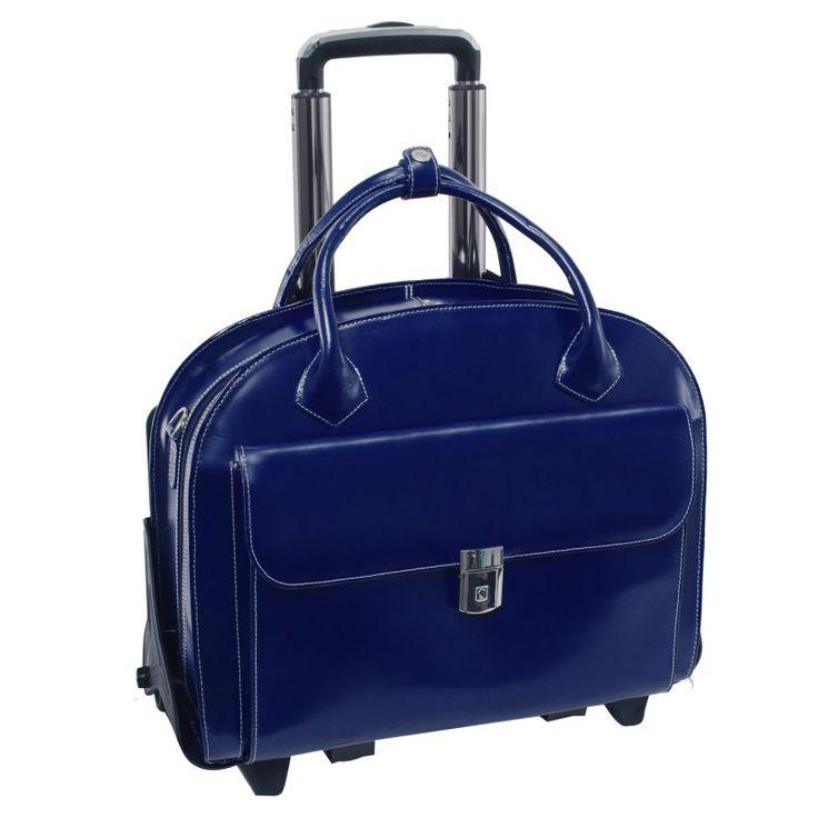 McKlein USA Glen Ellyn 2-in-1 Removable-Wheeled Briefcase Navy - 94367