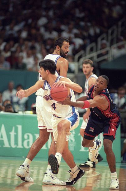 1996 Summer Olympics USA Penny Hardaway in action defense vs Serbia and Montenegro during Men's Final at Georgia Dome Atlanta GA  CREDIT David E Klutho