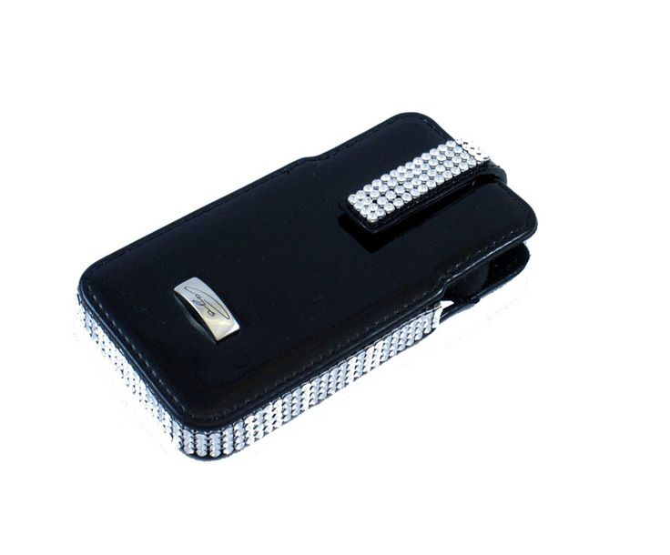 Cango & Rinaldi iPhone4 & iPhone4S bag is handmade of black patent leather and decorated with Swarovski crystals.