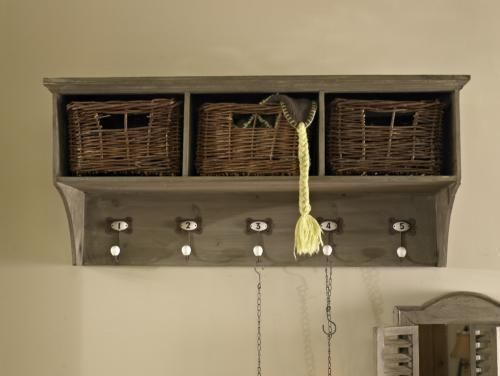 Wooden Hall Coat Rack Storage Unit With Baskets And Hooks Shabby Vintage  Chic