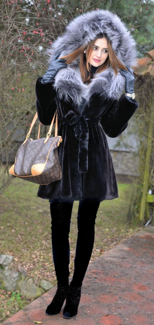 mink furs - saga mink fur coat with fox hood