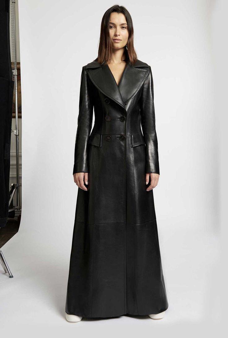 Jitrois | Mantel leder, Lederkleid, Lange schwarze kleider