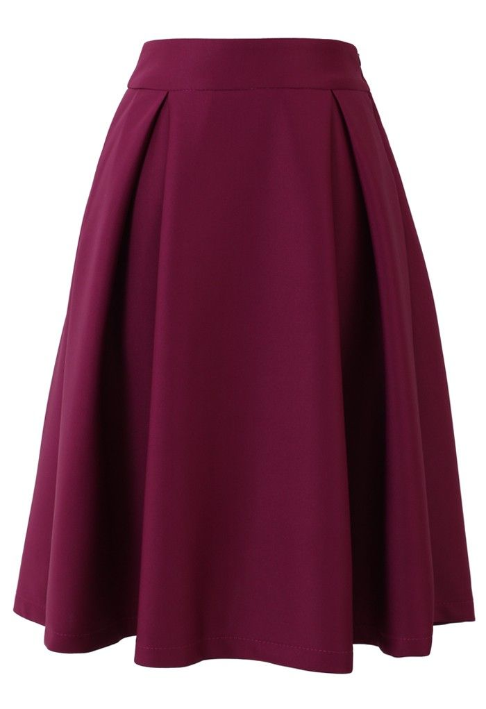 Full A-line Midi Skirt in Violet