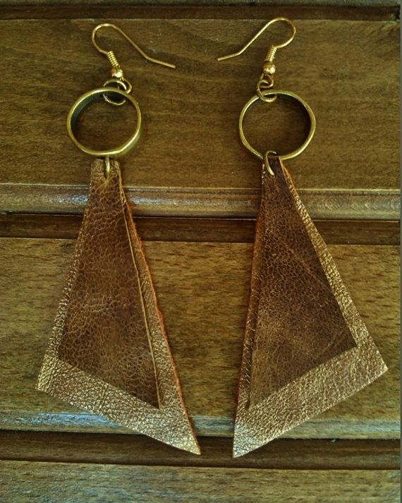 Brown & metallic gold leather geometric  triangular earrings with bronze metal hoop