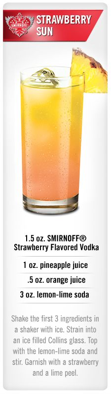 Smirnoff Strawberry Sun drink recipe with Smirnoff Strawberry flavored vodka, pineapple juice, orange juice and lemon-lime soda. #Smirnoff #drink #recipe #Smirnoff #SMIRNOFFsorbet #SorbetLight #GuiltlessPleasures