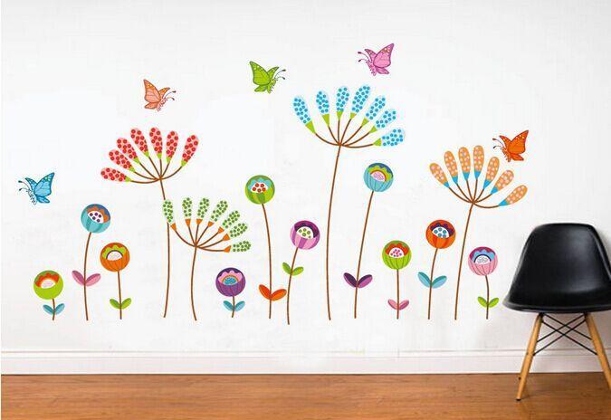 Väggdekor med fjärilar och blommor