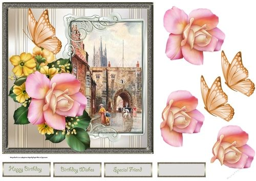Bridlington town card with rose decoupage and sentiment tags is a 7x7 card, for many occasions