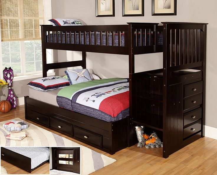 Twin over Full Staircase Bunk Bed with 3 Drawer Storage