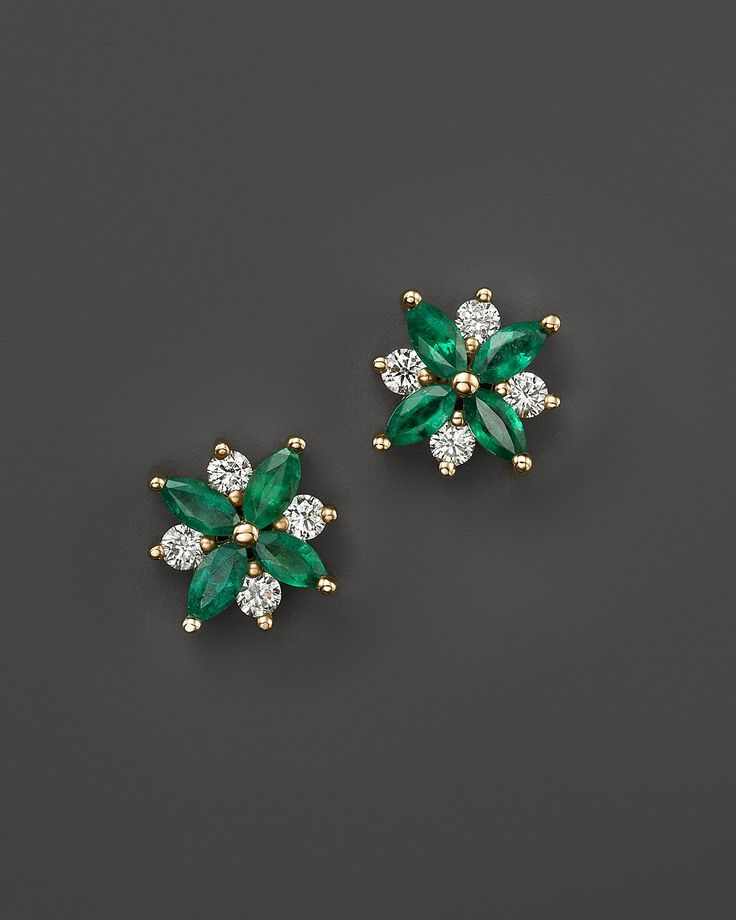Emerald and Diamond Flower Stud Earrings in 14K Yellow Gold | Bloomingdale's