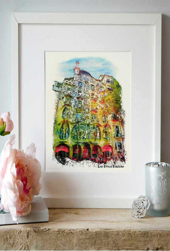 Casa Batllo Barcelona Gaudi Watercolor painting by Artsyndrome