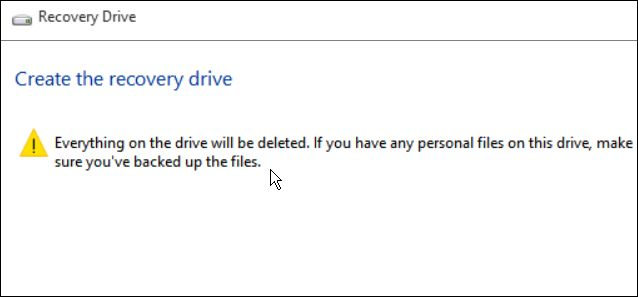 create Windows 10 recovery disk using USB drive for system restore or reset.