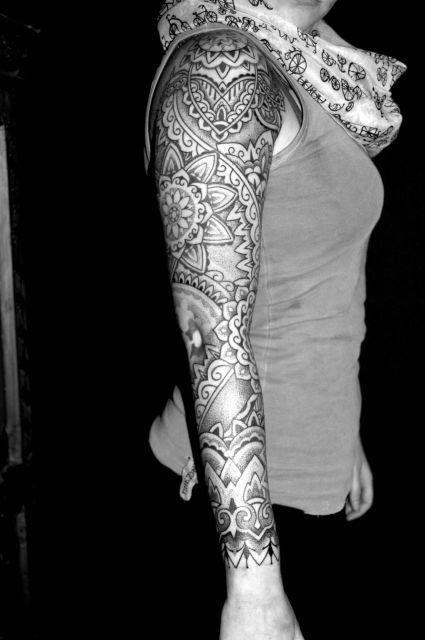 intricate female sleeve tattoos - Google Search