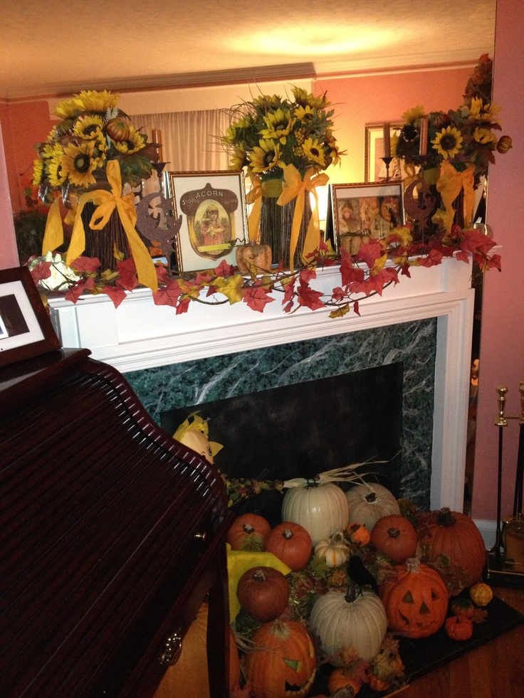 Fall decorations for the fake fireplace mantle