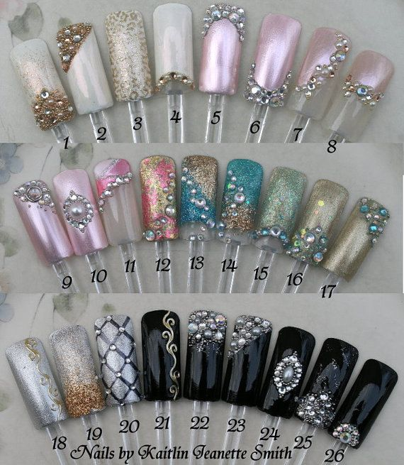 Prom Artificial Nail Art by KaitlinsDesignerNail on Etsy