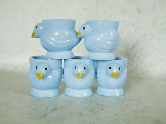 Blue milk glass, also known as opaline, egg cups, made in France and hallmarked Opalex. Circa 1950s.