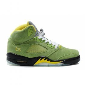 Air Jordan 5(V) Fluff Grass Green Black Yellow   $84.00  http://www.jordanpatros.com
