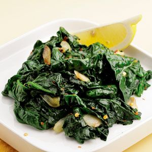 Simple Sautéed Spinach - Sautéed spinach (or any greens) with garlic and a squeeze of lemon (or vinegar).