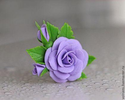 """""""Розы"""" кольцо - сиреневый,зелёный,розы,роза,цветы ручной работы,цветы из полимерной глины"""