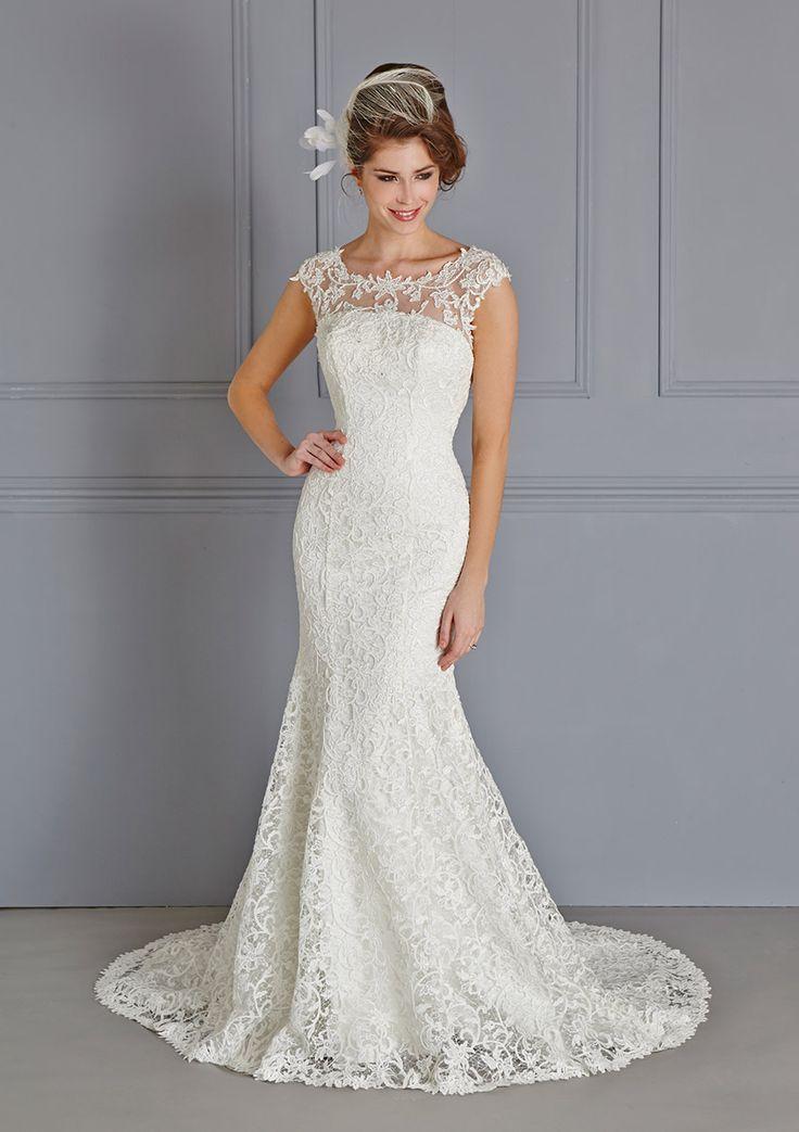 Sleeveless Illusion Neck Lace Patterns Trumpet Lace Wedding Dress