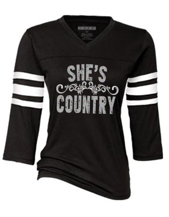 Southern Sisters Designs - She's Country Bling Sports Tee, $20.95 (http://www.southernsistersdesigns.com/shes-country-bling-sports-tee/)