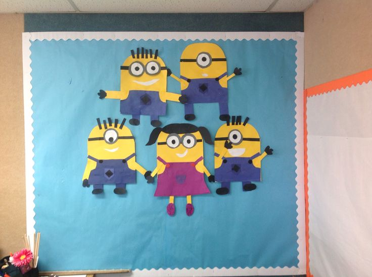 Construction paper Minions for Disney Week, students enjoyed making these and giving them their own personality. They are about 17-22 inches tall. K-3rd summer camp 2014