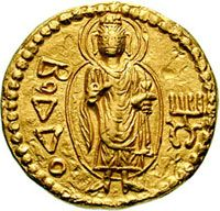 Silk Route Gold coin with image of Buddha, Kushan Kingdom. Kanishka (circa 100-140 A.D.). Found at Ahin Posh, Afghanistan.
