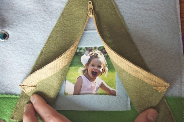 Zip the tent.  I like this idea of having a picture behind the tent flaps.