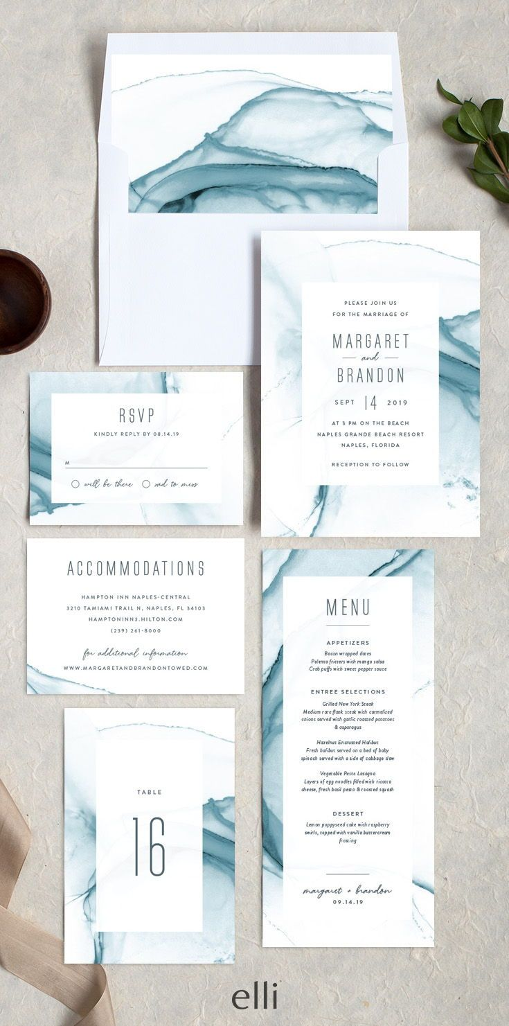 Modern Wave Wedding Invitation Suite With Gorgeous Painterly Pattern Contemporary Wedding Invitations Nautical Wedding Invitations Wedding Invitation Design