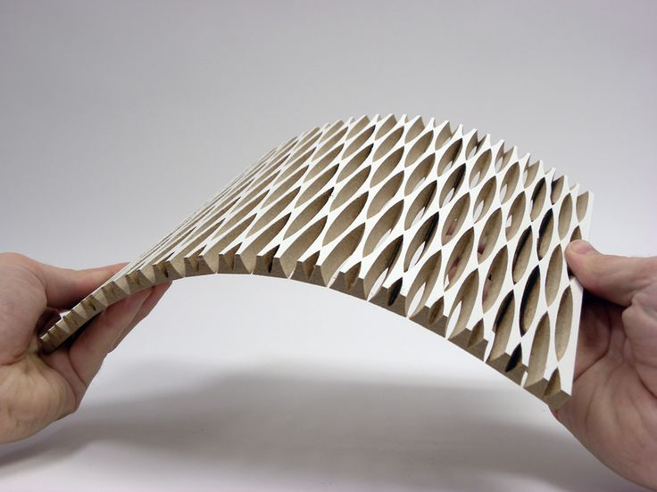 dukta folie - flexible wood and wood materials. Through the cuts, the material receives nearly textile properties