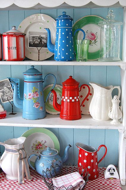 HOME PICS 018 by HAPPY LOVES ROSIE, via Flickr; white hutch blue background, enamel ware spotted checked floral