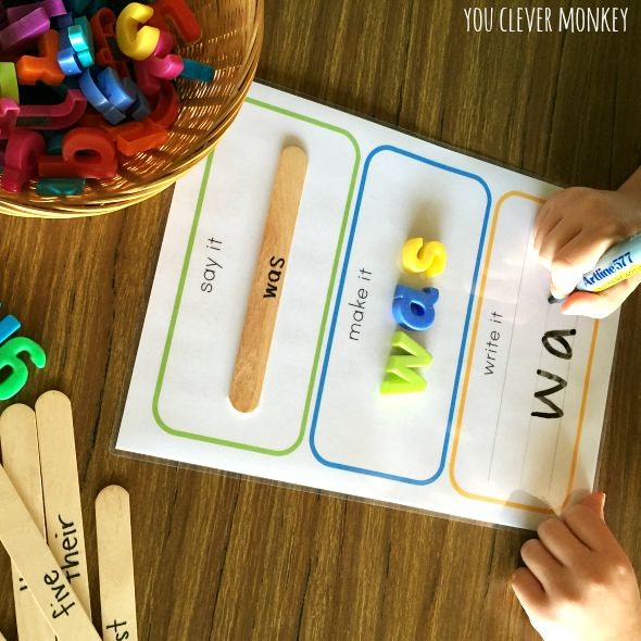 Printable Say It, Make It, Write it mats - perfect literacy centre activity | you clever monkey
