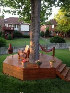 Beautiful Wood Island Patio Built Around An Existing Tree. Awesome, Unique  Centerpiece For A Backyard.