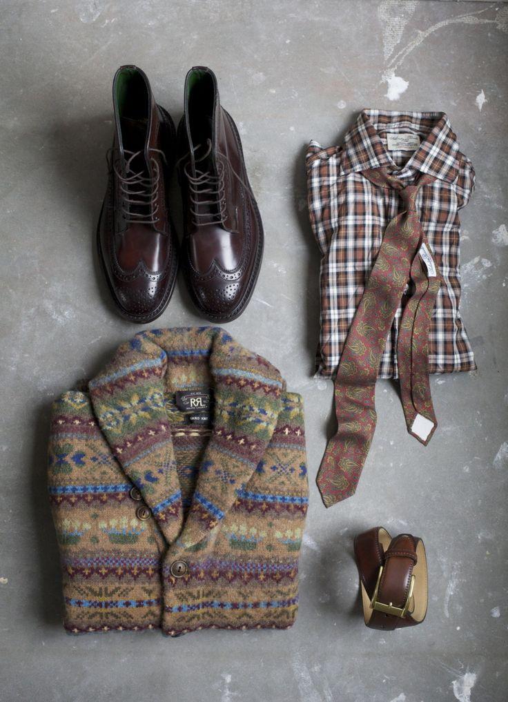 mixed patternsAnkle Boots, Men Style, Menoutfit, Men Fashion, Plaid Shirts, Fair Isle, Autumn Menswear, Leather Belts, Men Outfit