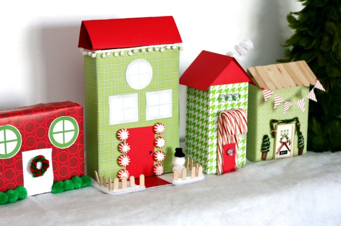 24 christmas crafts for kids make a christmas village for What to make out of cereal boxes