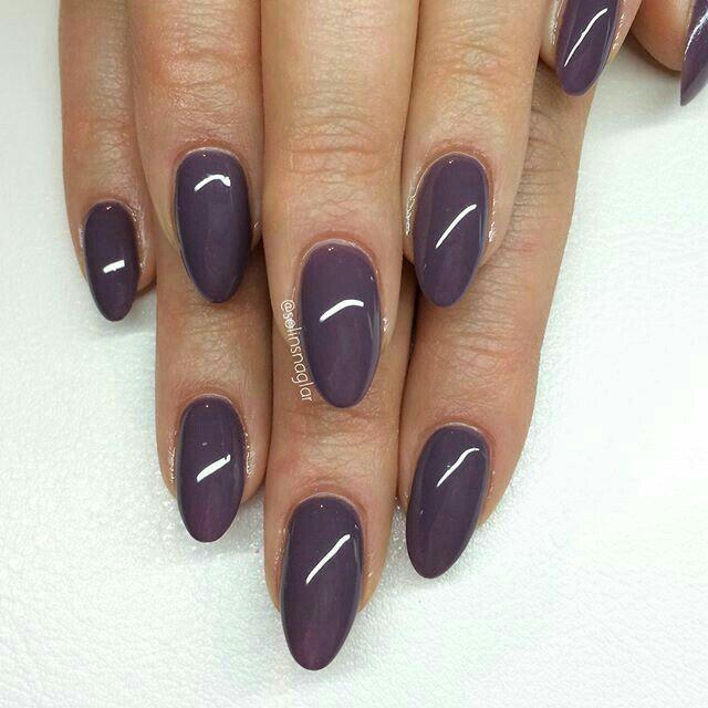 ashy purple almond nails